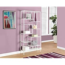 """Monarch Specialties I 7159 Bookcase, White/Clear Glass, 72"""""""