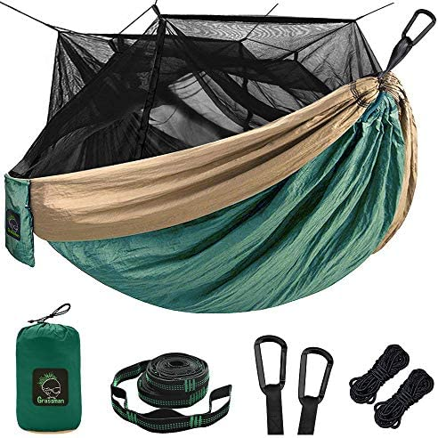 Single Double Camping Hammock with Mosquito Bug Net, Portable Parachute Nylon Hammock with 10ft Hammock Tree Straps 17 loops and Easy Assembly Carabiners, for Camping, Backpacking, Travel, Hiking