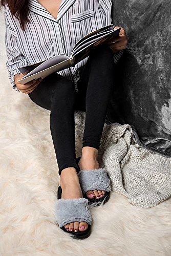Aerusi Women Mink Fur Slide Sandal Indoor House Home Slipper Grey ePGlD