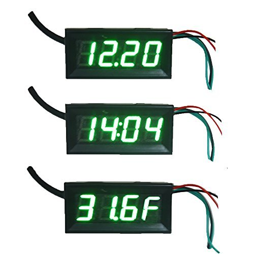 "Holdding Fahrenheit Scale °F 0.56"" DC 12V Digital Car Clock Thermometer Voltmeter 3in1 Green LED Auto Gauges DS18b20 Electronic Clock with Anti-reverse Protection Probe"