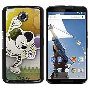 For Motorola NEXUS 6 / X / Moto X Pro Case , Children'S Drawing Ears Black Art Pastel - Diseño Patrón Teléfono Caso Cubierta Case Bumper Duro Protección Case Cover Funda