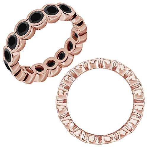 0.25 Carat Black Diamond Beautiful Bezel Full Eternity Anniversary Band Ring 14K Rose Gold