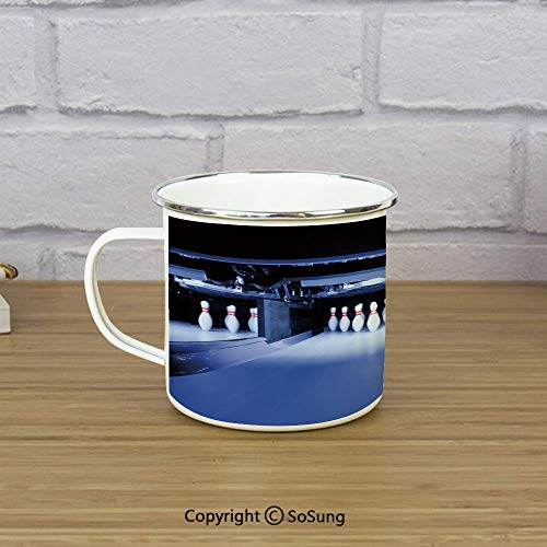 (Bowling Party Decorations Enamel Camping Mug Travel Cup,Symmetric Bowling Pins in Empty Alley Hobby Fun Challenge,11 oz Practical Cup for Kitchen, Campfire, Home, TravelBlue White Red)