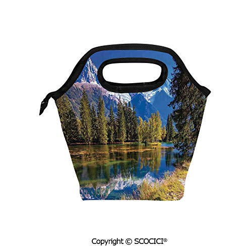 Picnic Food Insulated Cooler Tote Lunch Bag Snow Covered Alps Fir Trees in Lake Serenity in Natural Paradise Organizer Lunchbox for Women Men Kids.