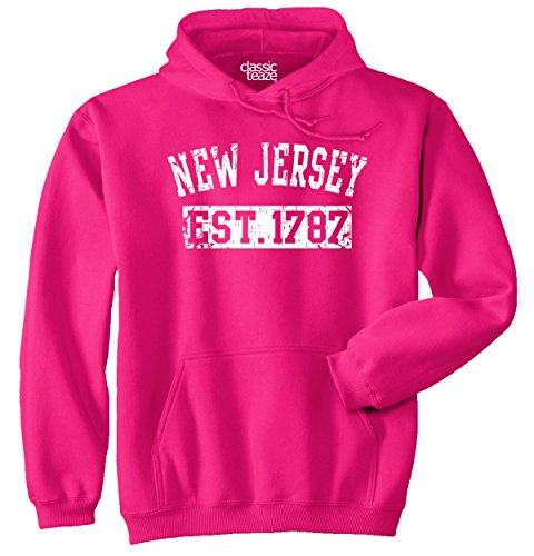 Classic Teaze New Jersey State Printed Adult Hooded Sweatshirt