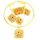 Yulaili 24k Real Gold Plated Ethiopian Traditional Habesha Jewellery Set (Red)