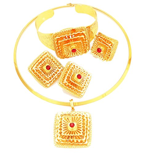 Yulaili 24k Real Gold Plated Ethiopian Traditional Habesha Jewellery Set (Red) by Yulaili