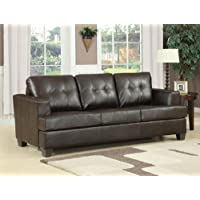 Platinum Collection 15060 86'' Sofa Bed with Queen Size Sleeper Removable Seat Cushions Pocket Coil Seating Wood Frame and Bonded Leather Upholstery in Brown Color