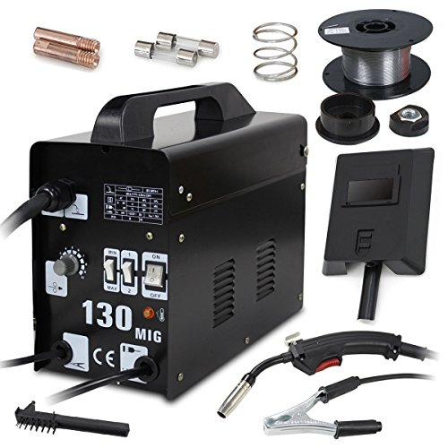 Super Deal PRO Commercial MIG 130 AC Flux Core Wire Automatic Feed Welder Welding Machine w/Free Mask 110V ()