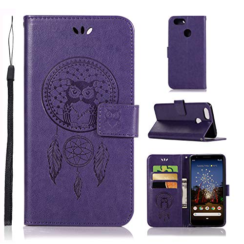 Pixel 3a XL Case,Pixel 3 XL Lite Wallet Flip Case,Pixel 3a XL PU leather Case Owl Dreamcatcher Embossed Purse Kickstand Cover Card Holders Hand Strap for Google Pixel 3 XL Lite/Pixel 3a XL Purple