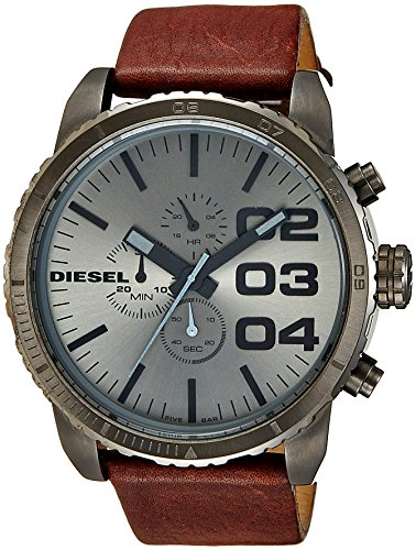Diesel Men's DZ4210 Advanced Gunmetal-Tone Stainless Steel Watch with Brown Leather Band