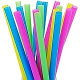 "ALINK 100 Extra Large Plastic Bubble Tea Smoothie Milkshake Straws, 1/2"" Wide X 8 1/2"" Long Boba Straws"