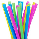 ALINK 100 Extra Large Plastic Bubble Tea Smoothie Milkshake Straws, 1/2' Wide X 8 1/2' Long Boba Straws