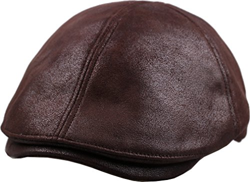 sujii iCAB Flat Cap newsboy Beret IVY Cap Irish Cabbie Driver Hat/Dark Brown, XL