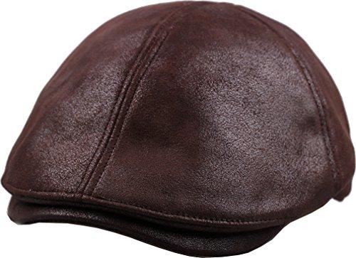 sujii iCAB Flat Cap newsboy Beret IVY Cap Irish Cabbie Driver Hat/Dark Brown, XL