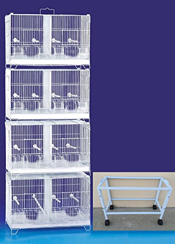 COMBO: LARGE Stack and Lock Double Breeder Cage Bird Breeding Cage With Removable Dividers And Breeder Doors With Rolling Stand 4 Of 31