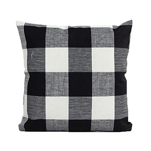 Cushion Case Cotton Linen Grid Simple Design Home Square Throw Pillow Covers18×18 inches 2PCS (Black)