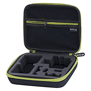 Review XP Carrying Case for Action Cameras GoPro Hero 5, 4,3+,3,2, and accessories – Complete Protection for your GoPro Camera – Medium (Black and Green)