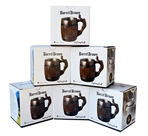 Handmade Beer Mug Set of 6 Wood Natural Stainless Steel Cup Men Gift Eco-Friendly Barrel Souvenir Round Brown