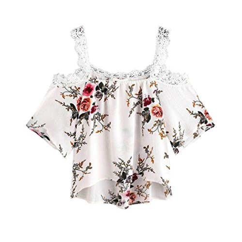 YANG-YI Women Short Sleeve Off Shoulder Lace Floral Blouse Casual Tops Fashion T-Shirt (M, White) (Lace Panel Stand Collar)