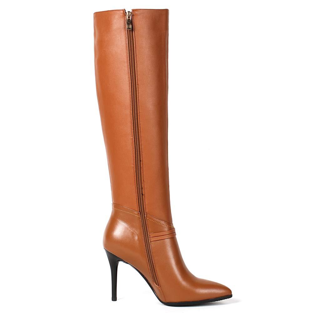 MERUMOTE 2017 Damenschuhe Stiefel, 2017 MERUMOTE Leder Thin Heels Reißverschluss Kniehohe Stiefel 08b7d3