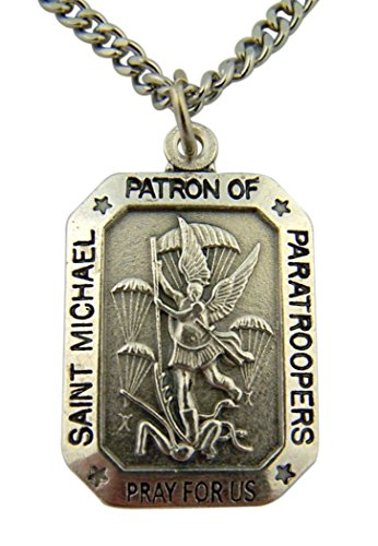 Silver Toned Base Saint Michael Patron of Paratroopers Medal Pendant, 1 ()