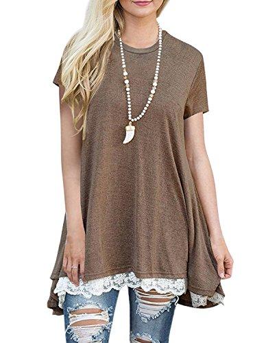 Line Scoop Neck - WEKILI Women's Tops Short Sleeve Lace Scoop Neck Tunic Blouse S-Coffee M/US 8-10