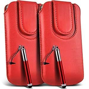 Direct-2-Your-Door - HTC One cuero de la PU del cordón botón magnético Tire cubierta de la caja de la bolsa del tirón Tab y retráctil Stylus Pen (paquete doble) - Rojo