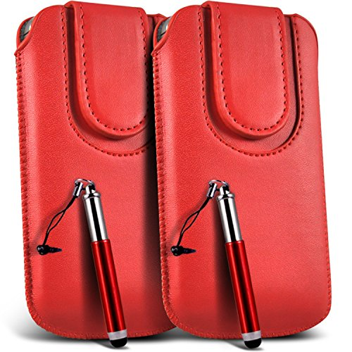 N4U Onine - Apple Iphone 5C Case en cuir PU bouton magnétique tirette Flip cordon Pouch Housse & Stylet rétractable (paquet double) - Rouge