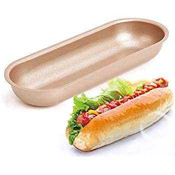 Great Forvel 7 Inch [Non Stick] Metallic Hotdog Buns Pan Baking Mold
