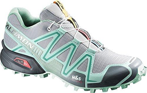 Salomon Women's Speedcross 3 Trail Running Shoes Light Onix / Topaz Blue / Dark Cloud 9 & Spare Quicklace Bundle
