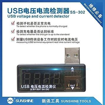 Sunshine Probador de Voltaje y Corriente USB para teléfonos móviles: Amazon.es: Electrónica