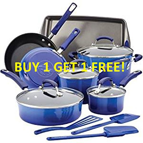 Premium 12 Piece Cookware Set RACHAEL RAY Exquisite Nonstick Hard Porcelain Enamel Cookware Oven Safe, PFOA-free,Dishwasher Safe, 12-Piece, Gray, AgaveBlue Handles, Food Network Featured by Rachael-Ray