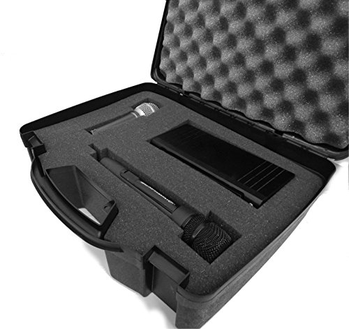 4 Wireless Mic System Case (STUDIOCASE Wireless Microphone System Hard Case w/ Customizable Foam - Fits PylePro PDWM3400 , PDWM3375 Premier Series UHF , Handheld Mics , Pyle Body-Pack Transmitters, Headsets and Lavalier)