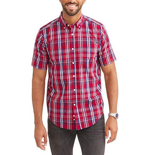 George Dress Shirts - George Mens Wrinkle Resistant Poplin Button Down Short Sleeve Shirt (XXXL Tall 54/56, Red Plaid)