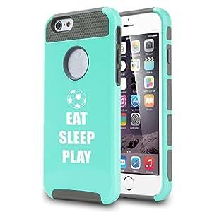 Apple iPhone 6 Plus / 6s Plus Shockproof Impact Hard Case Cover Eat Sleep Play Soccer (Teal)