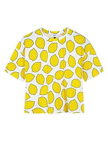 Clothink Women Short Sleeve Cropped Top Pattern Fruit Lemon Print Tee Blouses Lemon -