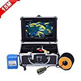 """Fish Finder Underwater Fishing Video Camera SYANSPAN Portable 7"""" TFT LCD Monitor,IP68 HD 1000TVL,Night Version Ice/Lake Fishing Camera with Carry Case(15/30/50m Cable)"""