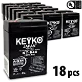 6V 6Ah / 6V 4.5 Ah American Hunter Higher Capacity Battery SLA / AGM Genuine KEYKO - F1 Terminal - 18 Pack