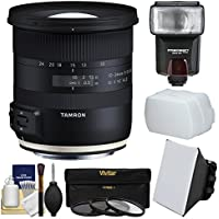 Tamron 10-24mm f/3.5-4.5 Di II VC HLD Zoom Lens with 3 UV/CPL/ND8 Filters + Flash + Soft Box + Diffuser + Kit for Canon EOS Digital SLR Cameras