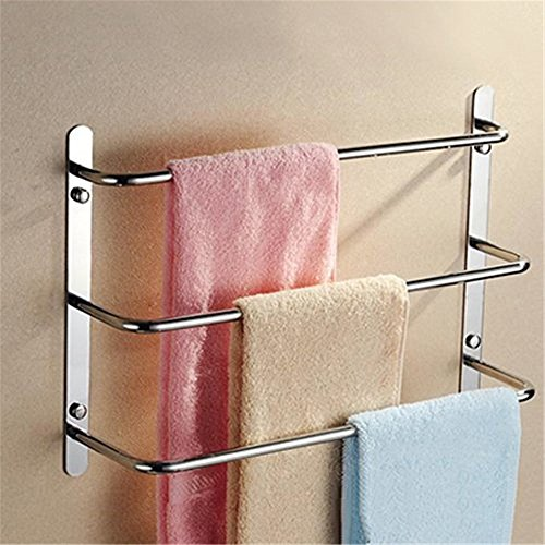 Leyden TM Chrome Finish 304 Stainless Steel Wall Mounted Bathroom Towel Rack 3 Tiers Towel (Stainless Steel Heated Towel)