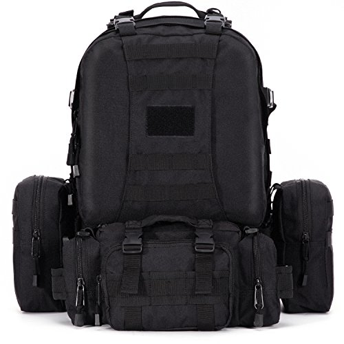 Gonex Molle Assault Pack 3 Day Military Tactical Combat Backpack 45L-60L(Black)