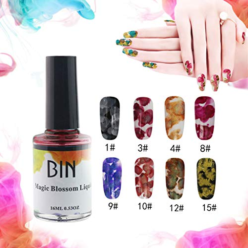 Flurries  8PCS Blossom Nail Polish Set - Watercolor Marble Nail Ink - Magic Blossom Gel - Beautiful Flower Nail Enamel - Art Varnish Manicure Design (Set A) -