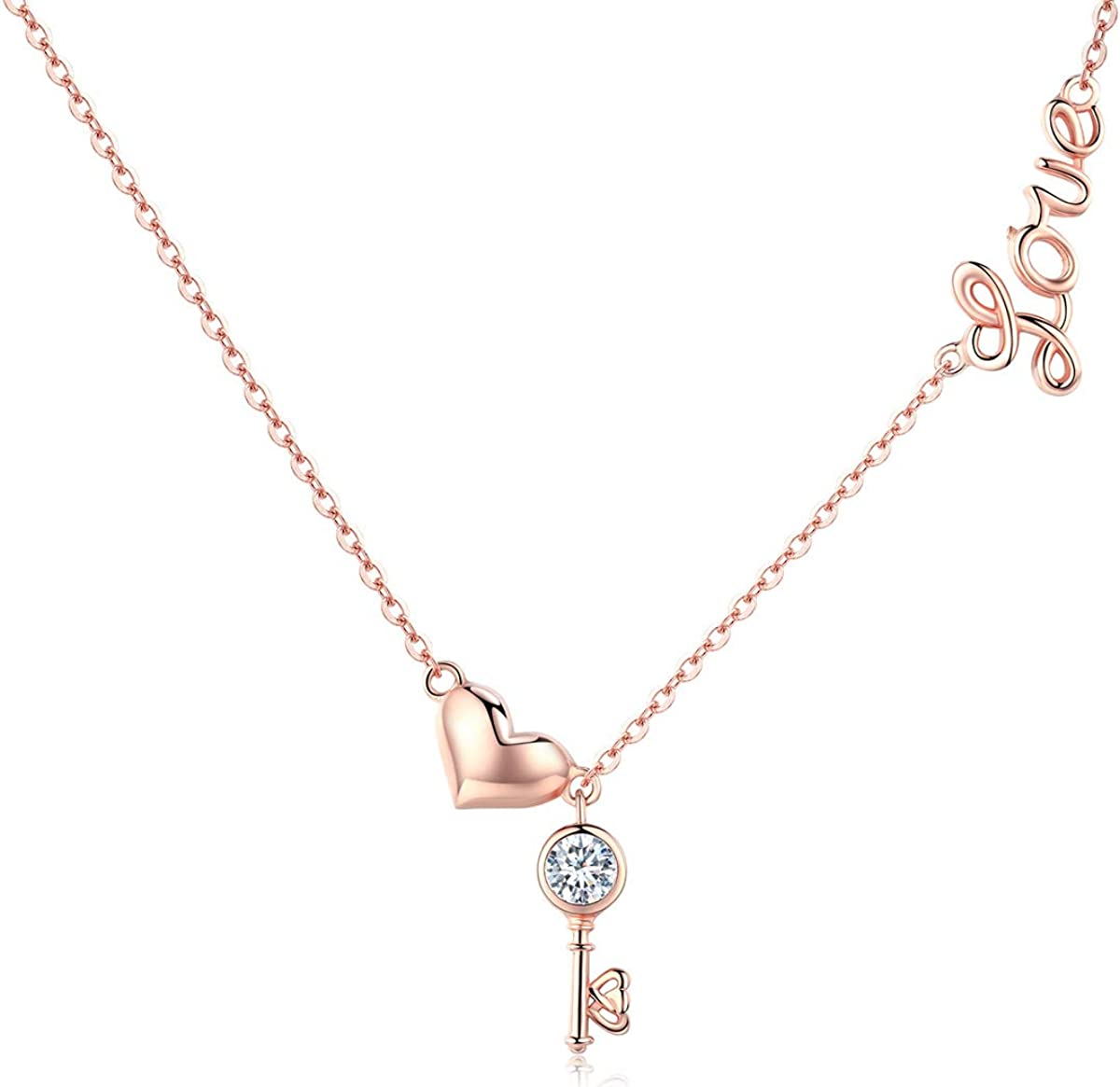 Amazon Com Heidou Sweet Rose Gold Love Necklace With Key Pendant Fashion Heart Neck Chain For Women Jewelry