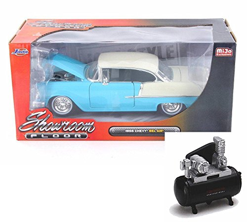 - Diecast Car & Air Compressor Package - 1955 Chevy Bel Air Hard Top, Turquoise Blue - Jada 98886-MJ - 1/24 Scale Diecast Model Toy Car w/Air Compressor