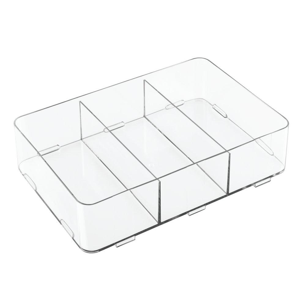 InterDesign Clarity Divisorio per cassetti, Organizer per cassetti con 3 Scomparti in plastica, Trasparente 42510