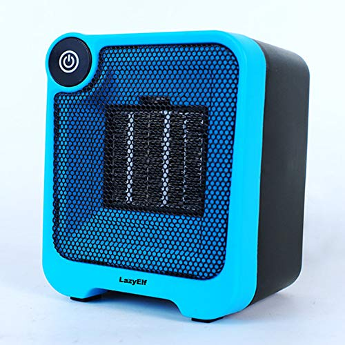 lazy Elf Personal Desktop Mini Space Heater Energy Efficient Quiet Indoor Mini Heater Gifts for mom Kids Room Office Warm Hands 500W Portable Mini Fan Heater with Overheat Tip-Over Protection – Blue