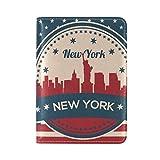 Vintage American Flag New York Skyline Leather Passport Cover - Holder - for Men & Women - Passport Case