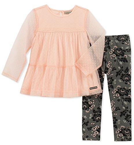 - Calvin Klein Girls' Little 2 Pieces Tunic Legging Set, Seashell Pink, 4