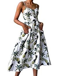 Longwu Women's Sexy Spaghetti Strap V-Neck Floral Print Casual Maxi Dress Beach Wear